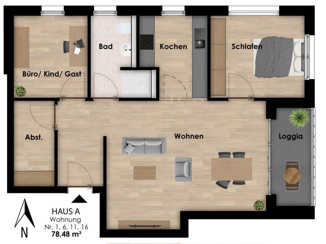Wohnungen Hermann-Albertz-Str. 70 - Grundriss Wohnungen 1,6,11,16