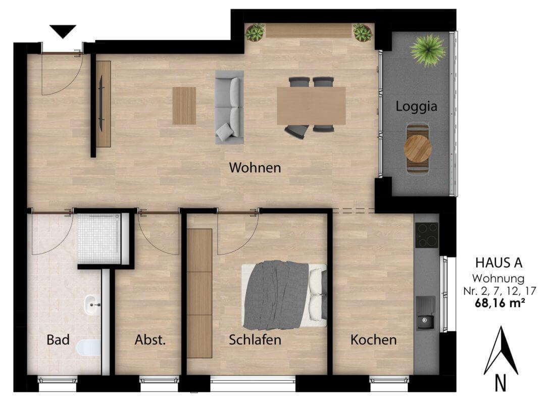 Wohnungen Hermann-Albertz-Str. 70 - Grundriss Wohnungen 2,7,12,17