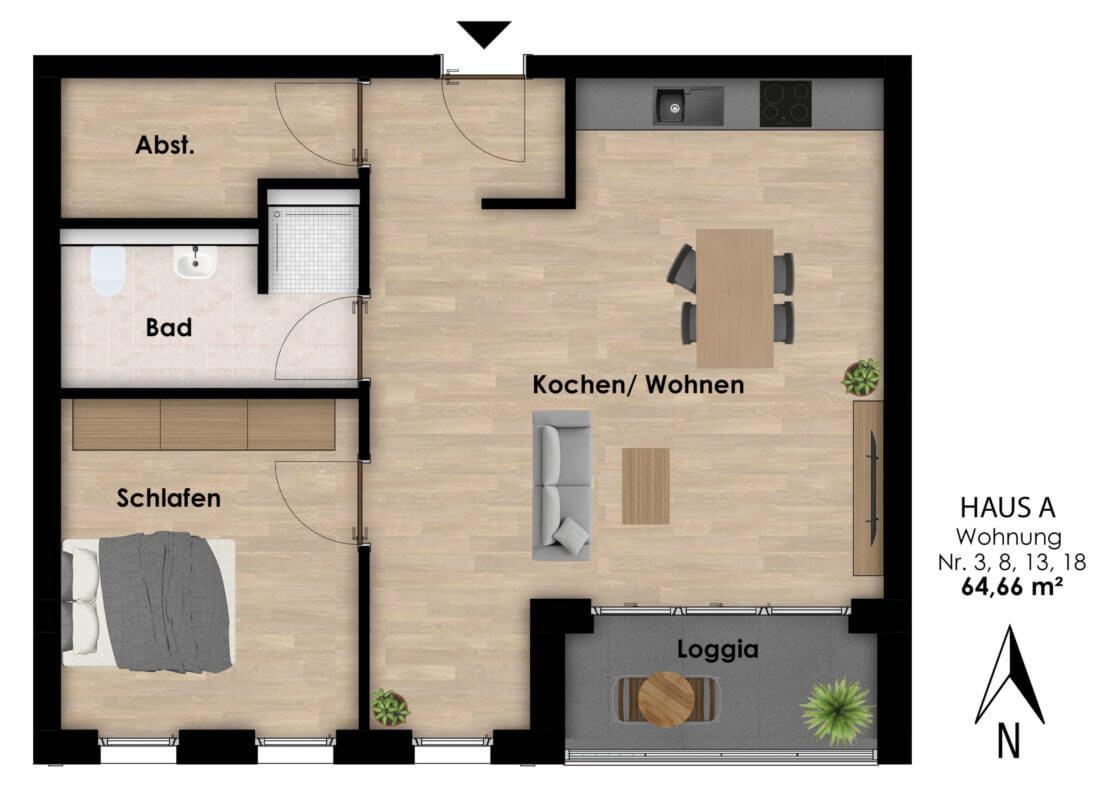 Wohnungen Hermann-Albertz-Str. 70 - Grundriss Wohnungen 3,8,13,18