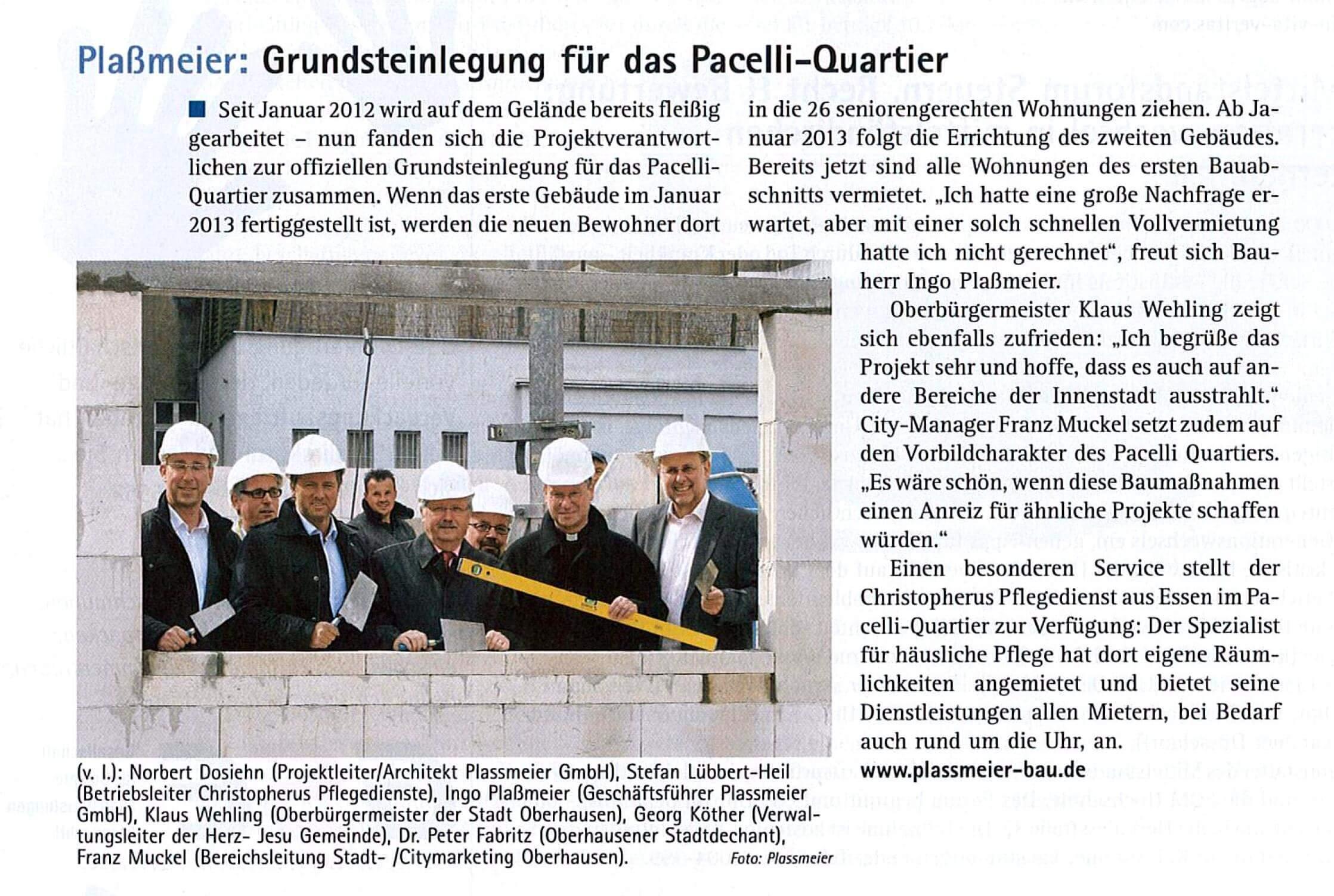 MEO-Magazin – Grundsteinlegung Pacelli Quartier