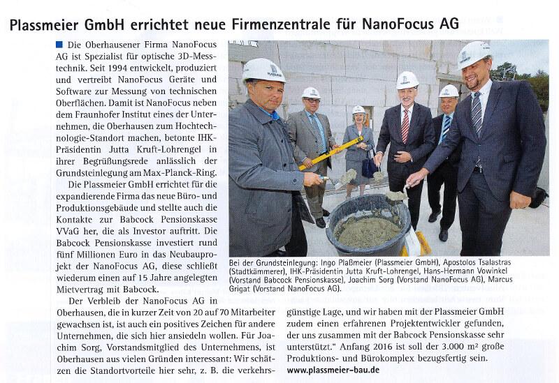 MEO-Magazin – Plassmeier errichtet neue Firmenzentrale für NanoFocus AG