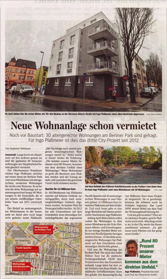 NRZ – 30 altengerechte Wohnungen am Berliner Park
