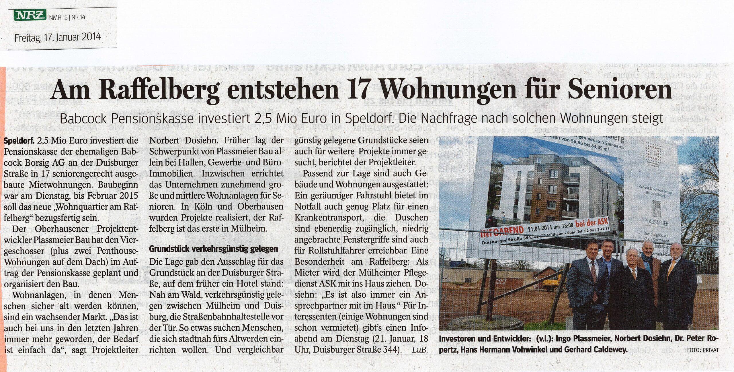 NRZ – Am Raffelberg entstehen 17 Wohnungen für Senioren