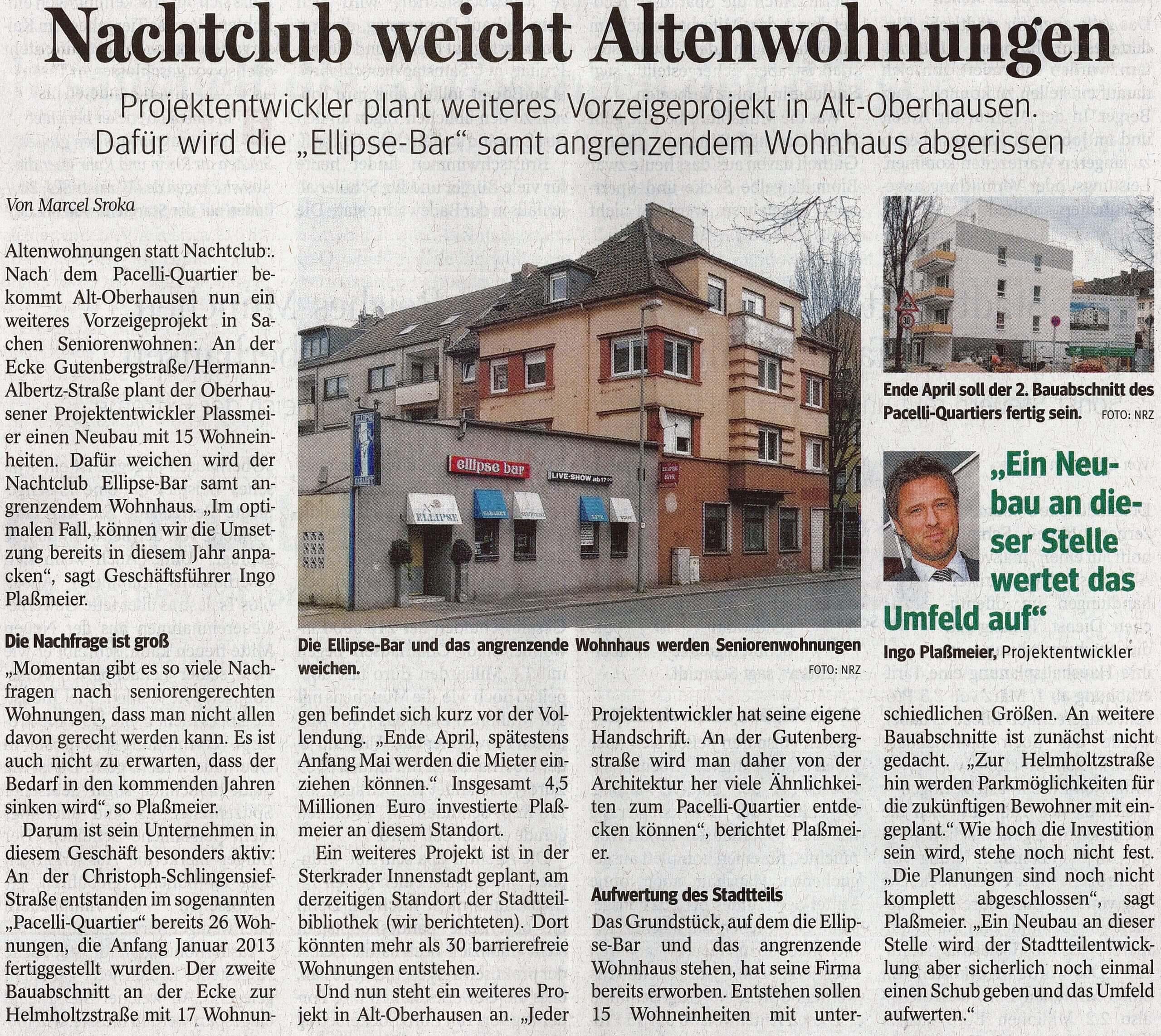 NRZ – Nachtclub weicht Altenwohnungen