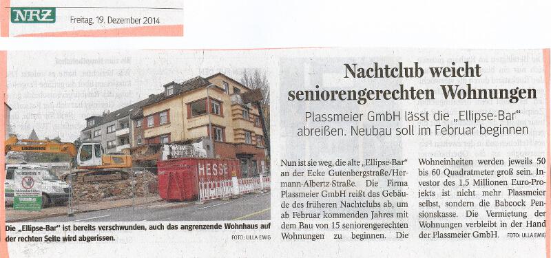 NRZ – Nachtclub weicht seniorengerechten Wohnungen