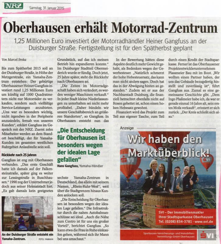 NRZ – Oberhausen erhält Motorrad-Zentrum