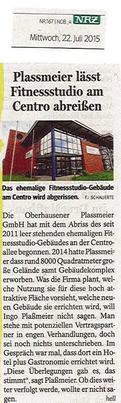 NRZ – Plassmeier lässt Fitnessstudio am Centro abreißen
