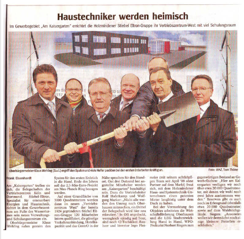 NRZ / WAZ – Erster Spatenstich am Max-Planck-Ring in Oberhausen Teil 01