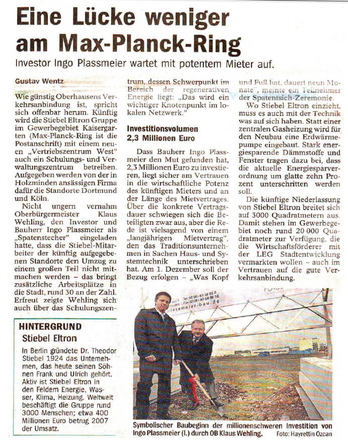 NRZ / WAZ – Erster Spatenstich am Max-Planck-Ring in Oberhausen Teil 02