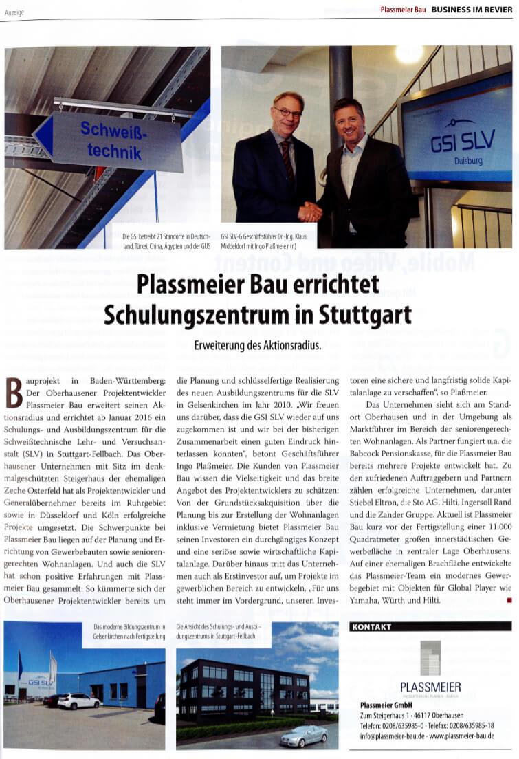 Revier Manager – Plassmeier Bau errichtet Schulungszentrum in Stuttgart