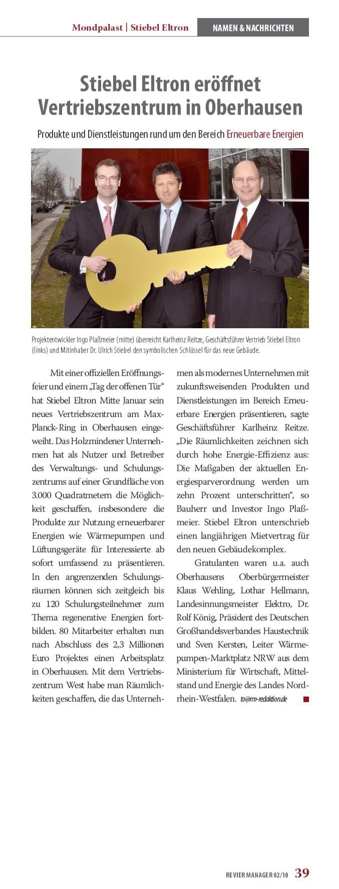 Revier Manager – Stiebel Eltron eröffnet Niederlassung Oberhausen