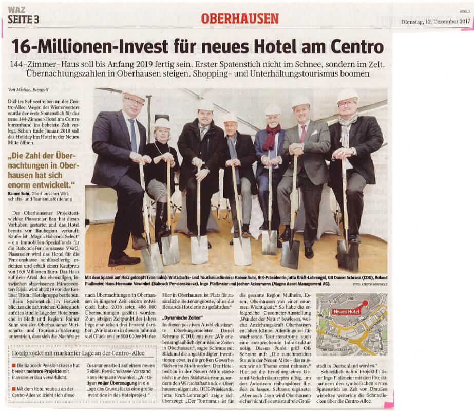 WAZ – 16-Millionen-Invest für neues Hotel am Centro