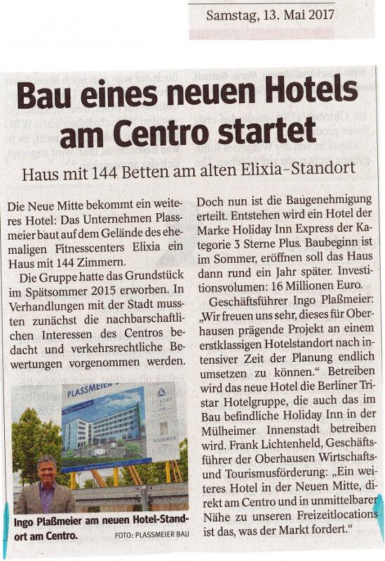 WAZ – Bau eines neuen Hotels am Centro startet
