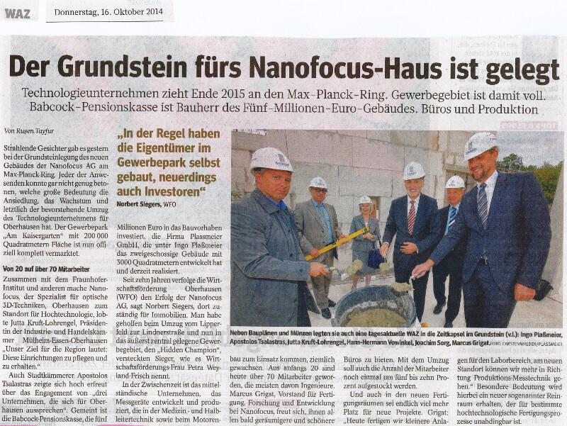WAZ – Der Grundstein fürs Nanofocus-Haus ist gelegt