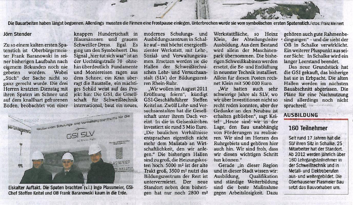 WAZ – Erster Spatenstich zum SLV Bildungszentrum in Gelsenkirchen Teil 02