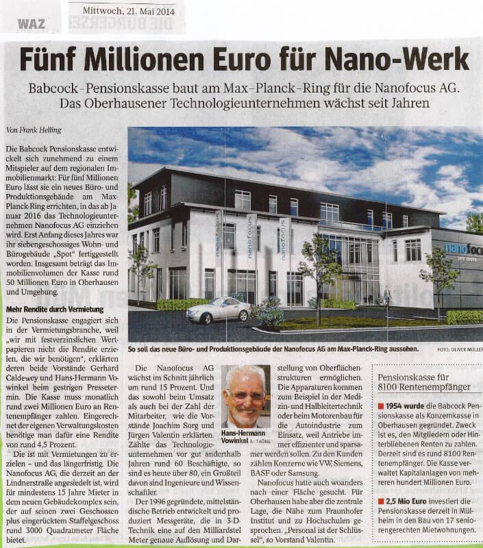 WAZ – Fünf Millionen Euro für Nano-Werk