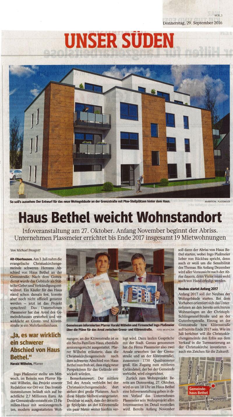 WAZ – Haus Bethel weicht Wohnstandort