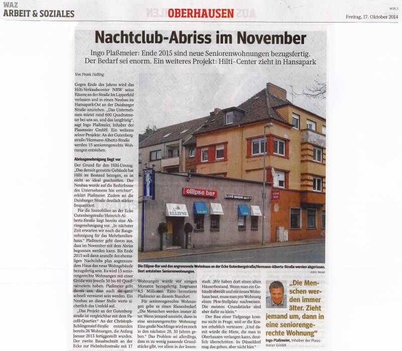 WAZ – Nachtclub-Abriss im November