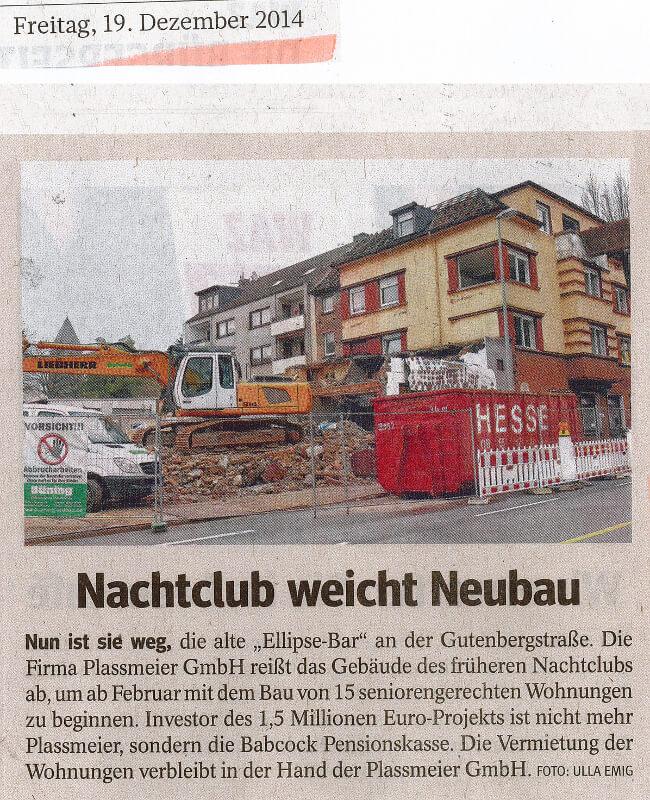 WAZ – Nachtclub weicht Neubau