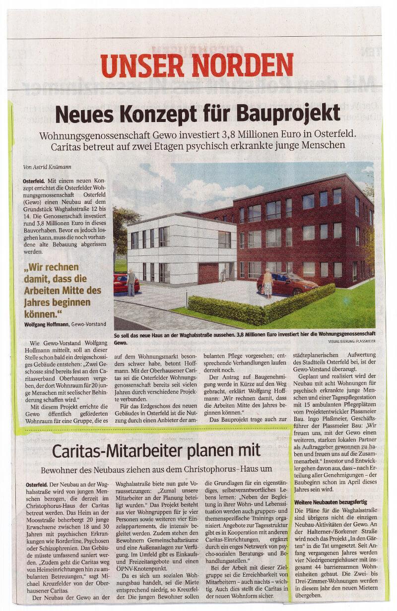 WAZ – Neues Konzept für Bauprojekt