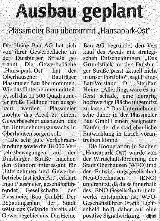 WAZ – Plassmeier Bau übernimmt Hansapark-Ost