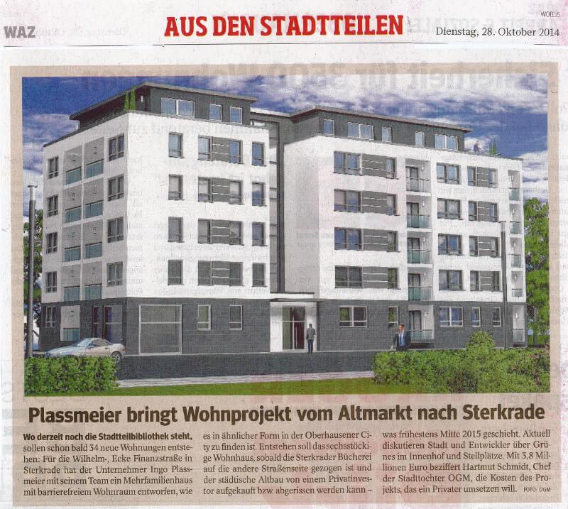 WAZ – Plassmeier bringt Wohnprojekt vom Altmarkt nach Sterkrade
