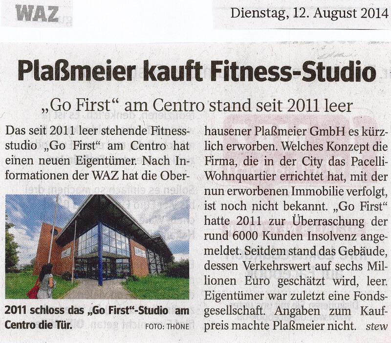 WAZ – Plaßmeier kauft Fitness-Studio