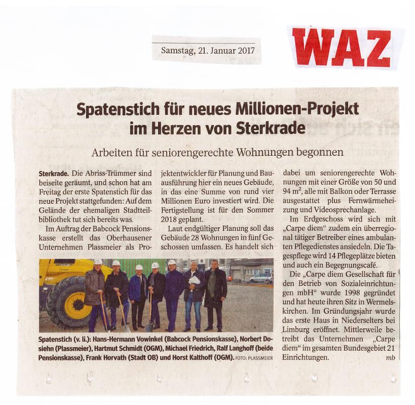 WAZ – Spatenstich für neues Millionen-Projekt im Herzen von Sterkrade