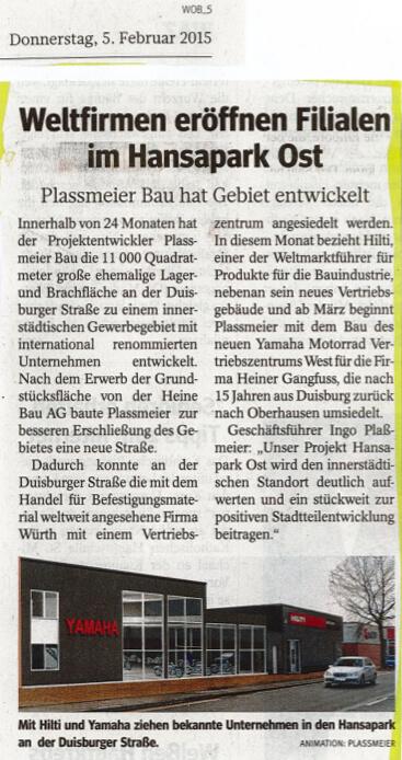 WAZ – Weltfirmen eröffnen Filialen im Hansapark Ost