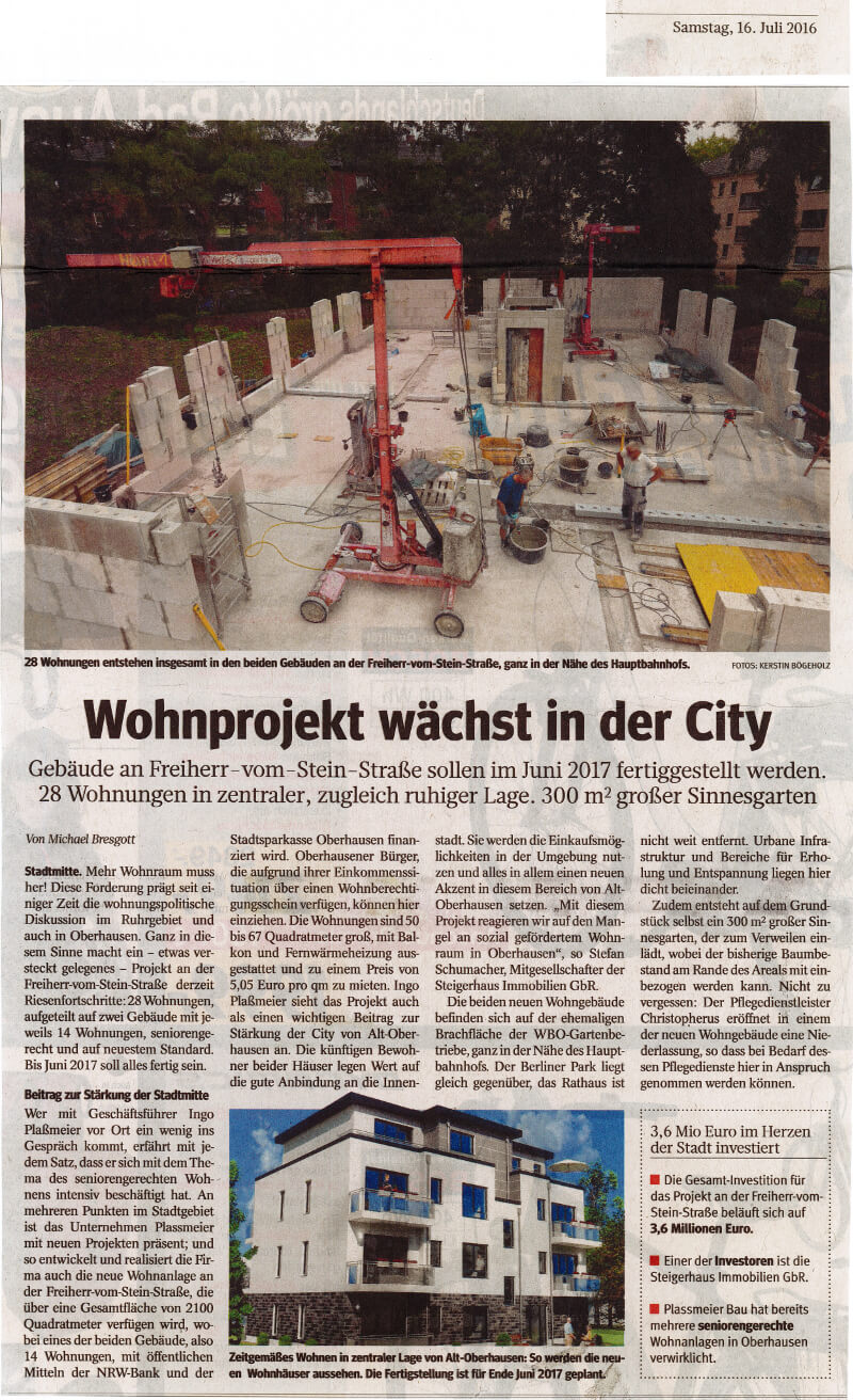 WAZ – Wohnprojekt wächst in der City