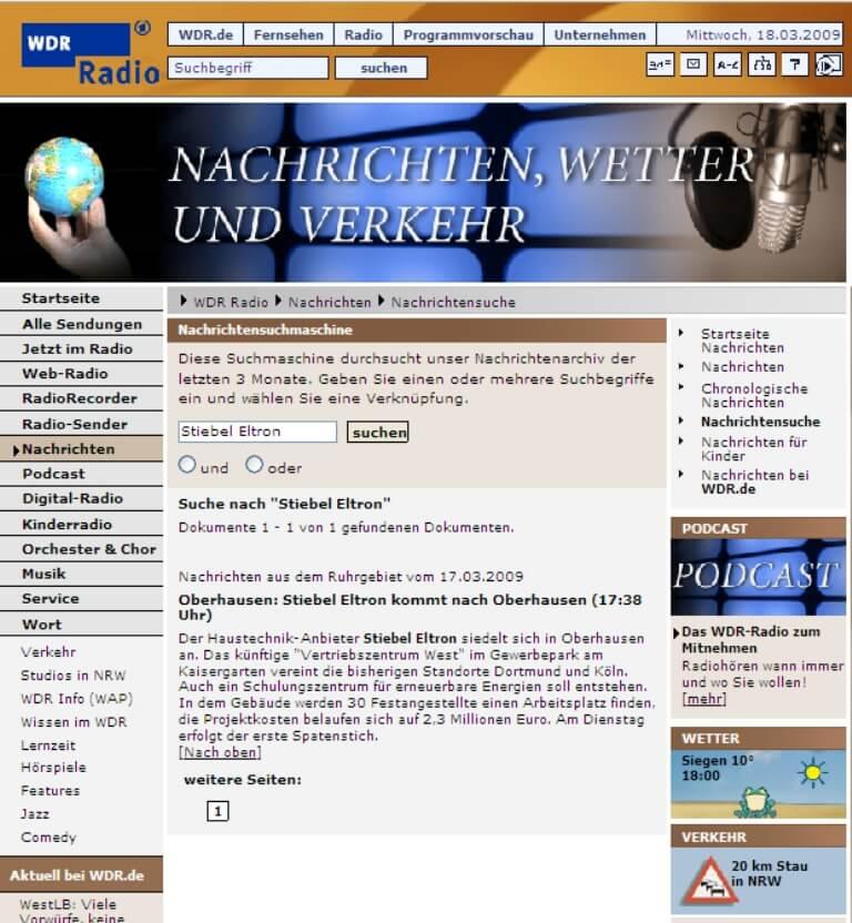 WDR Online – Stiebel Eltron kommt nach Oberhausen