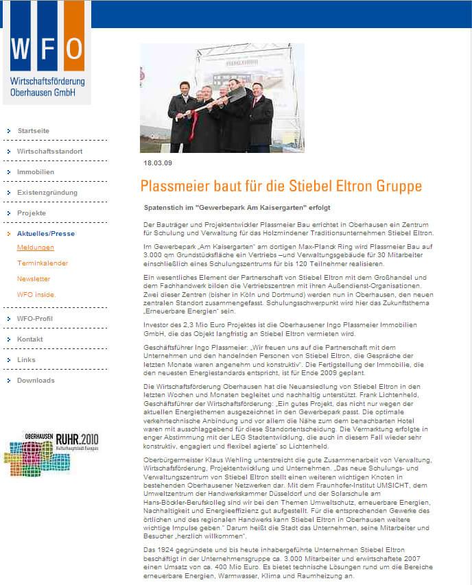 WFO – Plassmeier baut für Stiebel Eltron